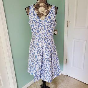 Taylor Blue & White Jaquard Dress NWT Sz. 10
